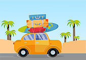 Trveling by yellow car with pile of luggage bags on roof and with surfboard on beach with palms. Summer tourism, travel, trip. Flat cartoon vector illustration. Car Side View With Heap Of suitcases