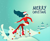 Flat illustration in vector slender girl in traditional suit of Santa Claus rides like snowboard on new year's decorated Christmas tree. Handwritten merry christmas Greeting card. Long hair fluttering