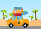 Little yellow taxi car riding along sea coast with stack of suitcases on roof. Flat cartoon vector illustration. Car side View with surfboard. Southern landscape with palms. Taxi transfer on vacation