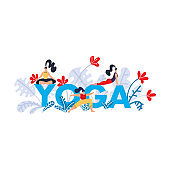 Yoga practice print. Seminar on yoga, festival, lesson, event. Banner with bright blue text letter Yoga, tropical exotic leaves and flowers and girls in poses and asanas. Flat Vector illustration.