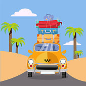 Yellow taxi car riding from sea coast with stack of suitcases on roof. Flat cartoon vector illustration. Car Front View with pile of luggage. Southern landscape with palms. Taxi transfer on vacation
