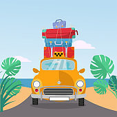 Little yellow retro taxi rides to sea with stack of suitcases on roof. Flat cartoon vector illustration. Car front View With pile of baggage.Southern landscape with sand. Taxi transfer on vacation