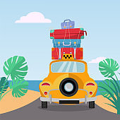 Little yellow retro taxi rides to sea with stack of suitcases on roof. Flat cartoon vector illustration. Car back View With pile of baggage.Southern landscape with sand. Taxi transfer on vacation