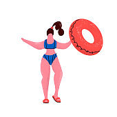 plus size woman with rubber ring. Girl in bikini with inflatable circle in swimming pool. Positive woman in swimming suit and flip flops. Flat cartoon style hand drawn illustration on white background