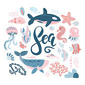 Set of Sea animals composition . Vector cartoon underwater creatures collection: jellyfish, starfish, ocean, sea horse, shell, fish, whale. Set of silhouettes in the minimal hand drawn child style