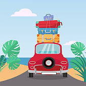 Little red retro car rides to sea with stack of suitcases on roof. Flat cartoon vector illustration. Car back View With pile of suitcases and baggage.Southern landscape with sand, leaves of Monstera