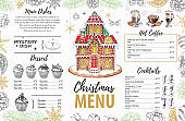Christmas menu design with sweet gingerbread house and christmas decorations