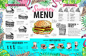 Hand drawing summer menu design with flamingo and tropic leaves. Restaurant menu