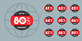 Sale tags set vector badges template, 80 off, 81 %, 82, 83, 84, 85, 86, 87, 88, 89 percent sale label symbols