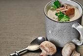 Cream of mushroom soup in mug