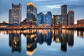 Boston Downtown skyline at the blue hour, Massachusetts, USA