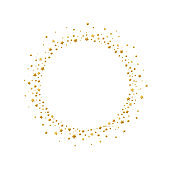 Round frame with gold confetti stars and circles isolated on white background.