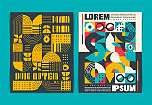 Two Modern Geometric art posters template. Vector illustration.