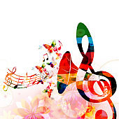 Colorful G-clef with gramophone horn