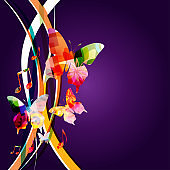 Music background with colorful music notes and butterflies