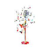 Colorful microphone with music notes and Arabic Islamic calligraphy symbols