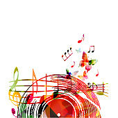 Music background with colorful vinyl record and music notes