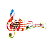Music background with colorful G-clef and music notes