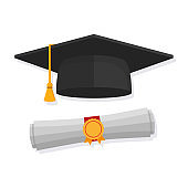 Graduation cap and rolled diploma . Flat style