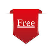 Free Shipping Red Label Icon Vector