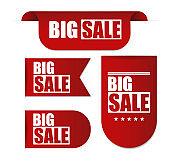 Big Sale Banner. Red Ribbon. Vector Illustration