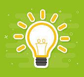 Solution symbol, lamp icon, idea vector illustration concept image icon