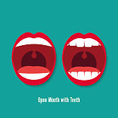 Open Mouth with Teeth Vector flat icon illustration