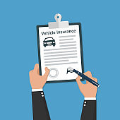 Hand holding vehicle Insurance document icons. Vector illustration