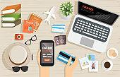 top view shoping online for website,app,supermaket product,printing,baner.vector illustration