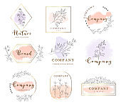 Set of hand drawn watercolor labels and badges for printing,produck,vector illustration