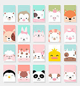 set cute baby animals with card for printing,greeting card,badge,happy birthdary, t shirt,banner,product.vector illustration