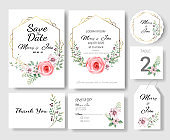 Set of Wedding invitation Card,save the date thank you card,rsvp with floral   and leaves, gold border, watercolor style for printing, badge.vector illustration