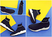 Collage with sports shoes on a trendy classic blue background.