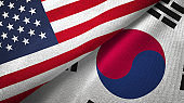 South Korea and United States two flags together realations textile cloth fabric texture