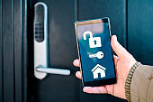 Digital key on mobile phone is used to unlock electronic lock into house