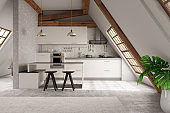 Modern Attic Kitchen interior