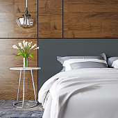 Modern Bedroom with Wood Panels