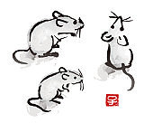 Indian ink brush painting mouse and rat illustration