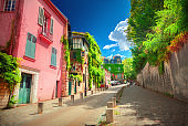 Street in quarter Montmartre in Paris, France.