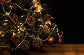 Christmas ornaments on a christmas tree