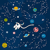 Cartoon astronaut in the outer space with planets, earth, moon and zodiac signs. Futuristic background with constellations, cosmonaut and stars. Galaxy pattern for kids.
