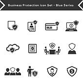 Business protection icon set - Grey Version