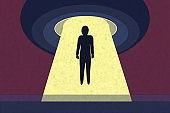 Fiction sci-fi illustration with an alien UFO abduction