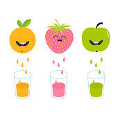 Fresh juice and glasses. Apple, strawberry, orange fruit with faces. Smiling cute cartoon character set. Natural product. Juicing drops. Flat design. White background. Isolated.