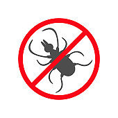 Tick insect silhouette. Mite deer ticks icon. Dangerous black parasite. Prohibition no symbol Red round stop warning sign. White background. Isolated. Flat design style.