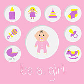 Its a girl.  Baby girl shower card. Bottle, horse, rattle, pacifier, sock, doll, baby carriage pyramid toy. Pink background Flat design.