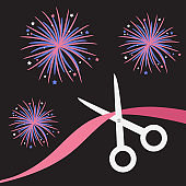 Scissors cut the ribbon. Grand opening celebration. Business beginnings event. Launch startup. Black background with fireworks. Flat design style.