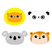 Lion Koala Panda bear Tiger round face head icon set. Kawaii wild animal. Cute cartoon character. Funny baby kids print. Love Greeting card. Flat design. White background. Isolated.