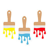 Paintbrush icon set. Blue, yellow, red color drops. Flowing down dripping paint. Flat design Decoration element. White background. Isolated