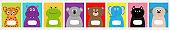 Notebook cover set line. Cat, dog, jaguar, hippopotamus, elephant, bear frog koala. Zoo animal face Cute cartoon character set Baby children education. Flat design White background